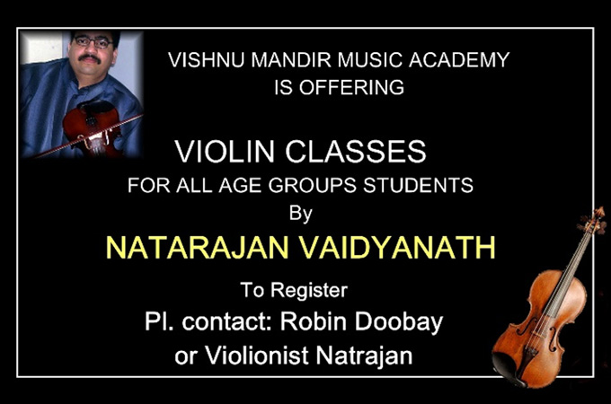 Violin classes available at Vishnu Mandir